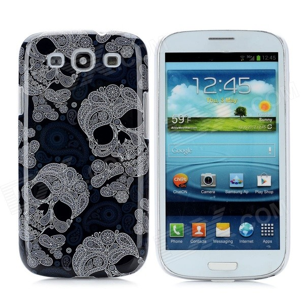 Skull Head Pattern Protective Back Case for Samsung Galaxy SIII i9300 - Grayish Blue + White cm001 3d skeleton pattern protective plastic back case for samsung galaxy s4