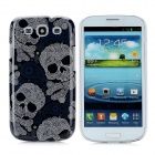 Skull Head Pattern Protective Back Case for Samsung Galaxy SIII i9300 - Grayish Blue + White