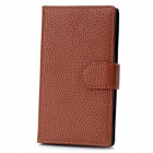 Lychee Pattern Protective PU Leather Case for Nokia Lumia 920 - Brown