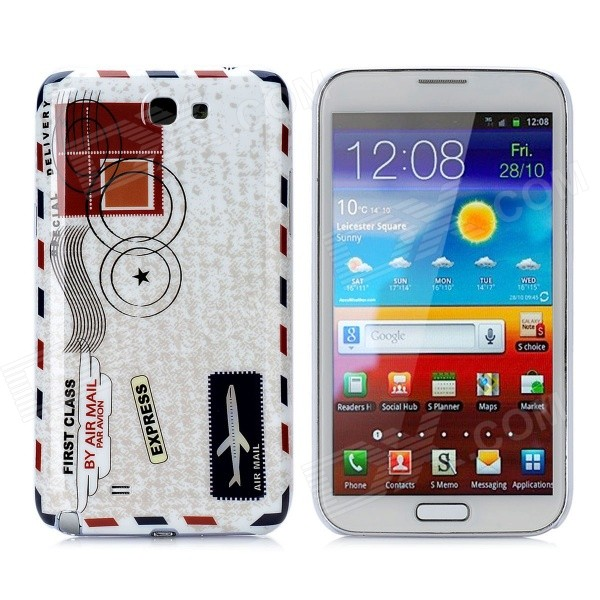 Envelope Style Protective Plastic Back Case for Samsung Galaxy Note II N7100 - White + Grey + Red x pattern protective tpu back case for samsung galaxy note ii n7100 white