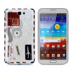 Envelope Style Protective Plastic Back Case for Samsung Galaxy Note II N7100 - White + Grey + Red
