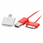 Apple 30 Pin Coil USB Charging & Data Cable w / Female Apple 30 Pin zu 8 Pin Blitz Adapter - Red
