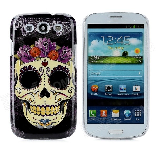 Skull Flower Pattern Protective Plastic Back Case for Samsung i9300 - Black + Yellow + Purple стоимость