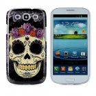Skull Flower Pattern Protective Plastic Back Case for Samsung i9300 - Black + Yellow + Purple