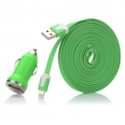 2-in-1 Car Charger + USB to 8 Pin Lightning Flat Daten & Ladekabel für iPhone 5 - Green