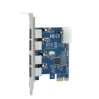 XL PC-4P 4-Port PCI-E to USB 3.0 Expansion Card - Silver + Blue