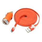 2-in-1 Car Charger + USB to 8 Pin Lightning Flat Data & Charging Cable for iPhone 5 - Orange