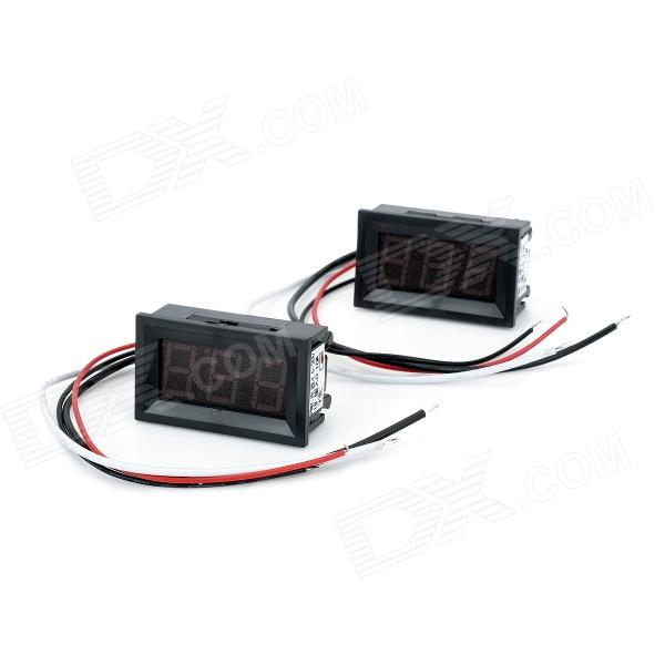 V20D 0.56 LED 3-Digit Direct-Current Ammeter - Black + White + Red (DC 0~10A / 2 PCS) 4 digit red led digital amperemeter black dc 5v