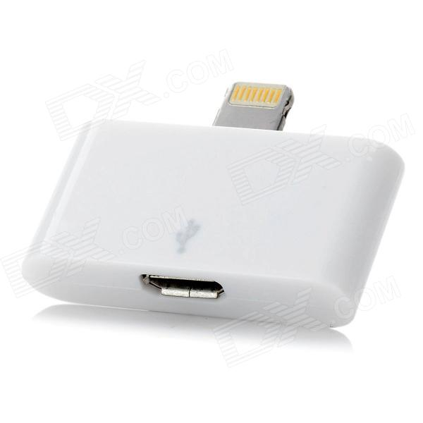 Female Micro USB to Male 8 Pin Lightning Adapter for iPhone 5 / iPad Mini - White