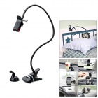 Universal 360-Degree Rotation Metal Soft Hose Holder w/ Suction Cup for Iphone + More - Black