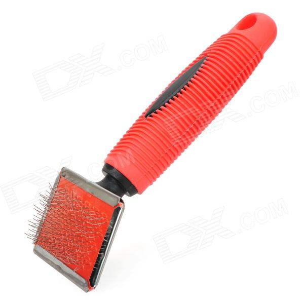Professional Soft Hair Protection Pet Dog Cat Needle Comb Grooming Tool - Red portable clinic clinical pet animal dog and cat refractometer rhc 300 atc blood protein serum urine plasma