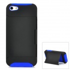 Protective Plastic Case w/ Flip Stand for Iphone 5 - Black + Blue