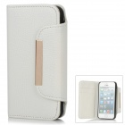 Protective PU Leather Magnetic Flip Open Case for Iphone 5 - White