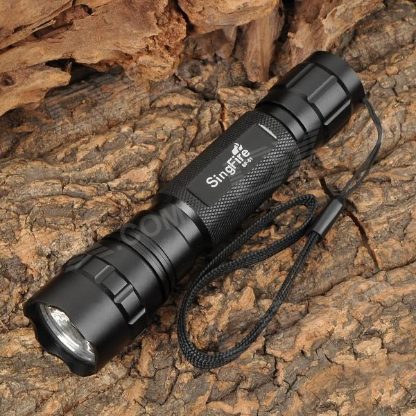 SingFire SF-51 800lm 5-Mode Memory White Tactical Flashlight w/ Cree XM-L T6 - Black (1 x 18650) jetbeam rrt26 white rgb 980lm 5 mode tactical flashlight w cree xm l2 3 led black 1 x 18650