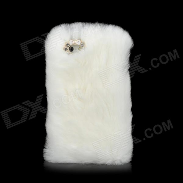 Fashionable Plastic + Rabbit Hair Back Case for Iphone 5 - White