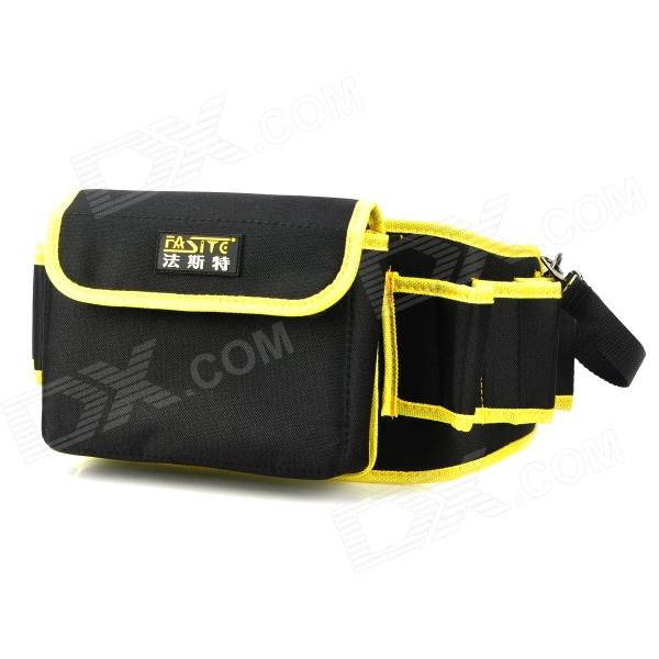 где купить FaSiTe PT-N0064 Multi-Function Electrical Repairing Tool Storage Waist Bag - Black + Yellow дешево