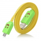 LED Smile Face Pattern USB-Stecker an Micro USB Stecker Kabel für Samsung Galaxy Note N7100 II - Yellow