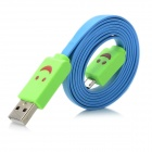 XL-3F Smile Face Pattern Micro USB Charging Data Cable for Samsung N7100 + Samsung i9300 - Blue