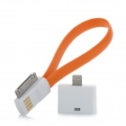 USB to 30-Pin Data Charging Cable w/ 8-Pin Lighting Adapter for iPhone 5 / 4 / 4S - Orange + White