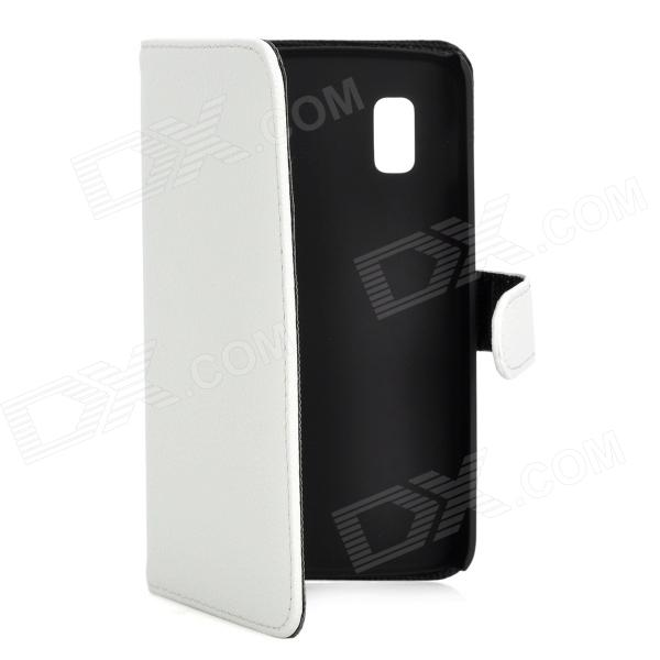 Protective Flip-Open PU Leather Case w/ Card Slot for LG E960 Nexus 4 - White protective flip open pu leather case w card slot for lg e960 nexus 4 white