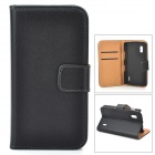 Protective Flip-Open PU Leather Case w/ Card Slot for LG E 960 Nexus 4 - Black