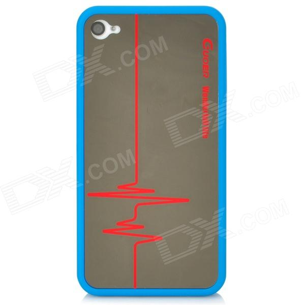 Protective Mirror Electrocardiogram Pattern Back Case for Iphone 4 / 4S - Blue statue of liberty pattern protective plastic case for iphone 4 4s blue white