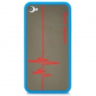 Protective Mirror Electrocardiogram Pattern Back Case for Iphone 4 / 4S - Blue