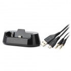 Desktop Charging Dock Cradle w/ Audio Cable / Micro USB Charging & Data Cable for iPhone 5 - Black