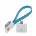 USB to 30-Pin Data Charging Cable w/ 8-Pin Lighting Adapter for iPhone 5 / 4 / 4S - Blue + White