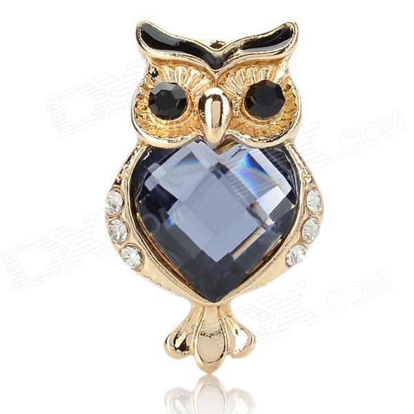 Exquisite Rhinestone Owl Style Zinc Alloy Anti-Dust Plug - Golden + Blue