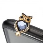 Exquisito Rhinestone buho estilo aleación de zinc Anti-Dust Plug - Golden + Blue