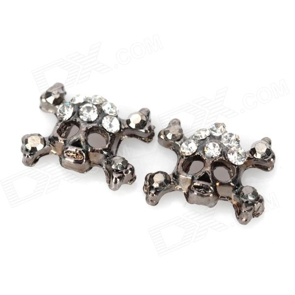 DIY Alloy Rhinestones Skull Heads Glitter Slices Nail Stickers - Grey (2 PCS)