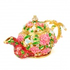 YLS115 Tea Pot Style Golden Edge Pink Rose Green Cymbidium Pattern Crystal Skeleton Casket