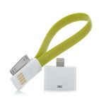 USB to 30-Pin Data Charging Cable w/ 8-Pin Lighting Adapter for iPhone 5 / 4 / 4S - Yellow  Green