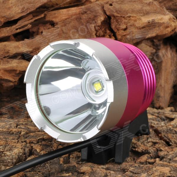 RUSTU D34 800lm 3-Mode Cool White Bicycle Headlamp w/ Cree XM-L T6 - Deep Pink + Silver (4 x 18650) rustu d30 2300lm 3 mode white bicycle headlamp w 3 cree xm l t6 black red 6 x 18650