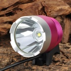 RUSTU D34 Cree XM-L T6 800lm 3-Mode Cool White Bicycle Headlamp - Deep Pink + Silver (4 x 18650)