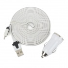 Car Charger Adapter + 8-Pin Lighting Laden / Data Flat Kabel für iPhone 5 / iPad 4 - White (3m)