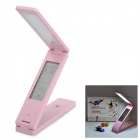 10W Folding Touch-18-LED Eye-Protection Table Lamp w / Alarm / Kalender / LCD Display - Pink
