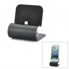 Aluminum Alloy Charging Dock Station w/ Retractable USB Cable for iPhone 5 - Black (60cm-Cable)