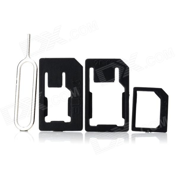 NINE Nano SIM 3-in-1 SIM Card Adapters w/ Install Tool for Iphone 5 - Black