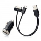 Car Charger + USB to Apple 30 Pin / Micro USB Ladekabel für iPhone 4S / Samsung / HTC - Schwarz