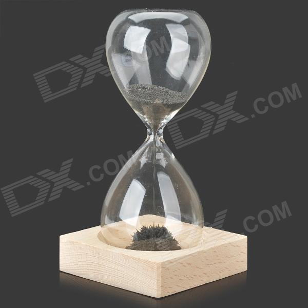01 Creative Glass Magnetic Ferrous Powder Desktop Decorative Hourglass Timer - White + Transparent