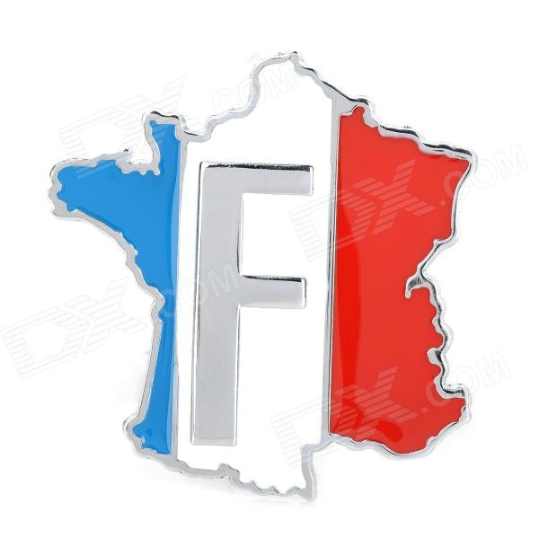 LZ003 French Flag Pattern / Map Shape Aluminum Alloy DIY Car Sticker - Red + Blue + White + Silver decorative eagle with us flag style sticker for motorcycle car blue red brown 3 pcs