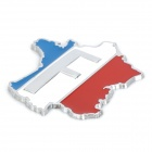 French Flag Pattern / Map Shape Aluminum Alloy DIY Car Sticker - Red + Blue + White + Silver