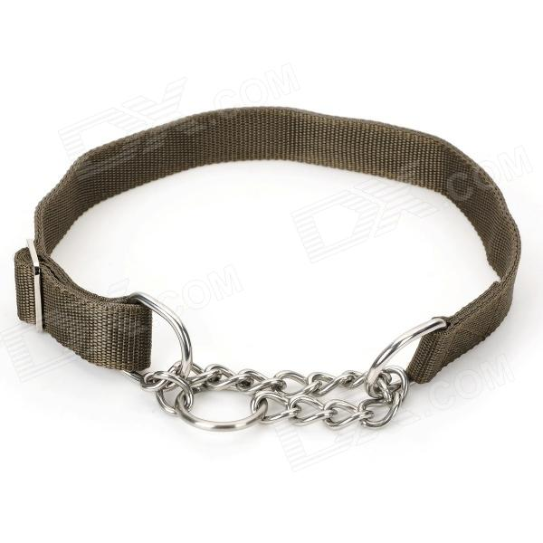 Adjustable Anti-bite Nylon Pet Collar for Mid-sized / Large Dog - Dark Grey-green