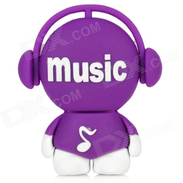 Cute Cartoon Boy with Headphone Style USB 2.0 Flash Drive - Purple + White (8GB) cute cartoon mushroom usb flash drive pink white purple 8gb