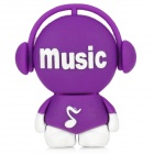 Cute Cartoon Boy with Headphone Style USB 2.0 Flash Drive - Purple + White (8GB)