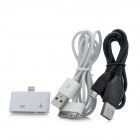Lightning 8-Pin to Apple 30-Pin / Micro USB Adapter + 30-Pin + Micro USB Data Cable - White + Black