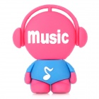 Cartoon Music Style USB 2.0 Flash Drive - Deep Pink + Blue (8GB)