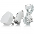 UK Plug AC Power Charger Adapter + Car Charger w/ USB Male to 30-Pin Male Cable for iPhone - White